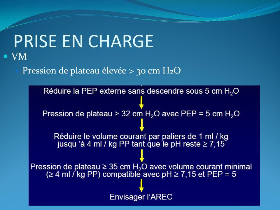 PRISE EN CHARGE VM Pression de plateau élevée > 30 cm H2O