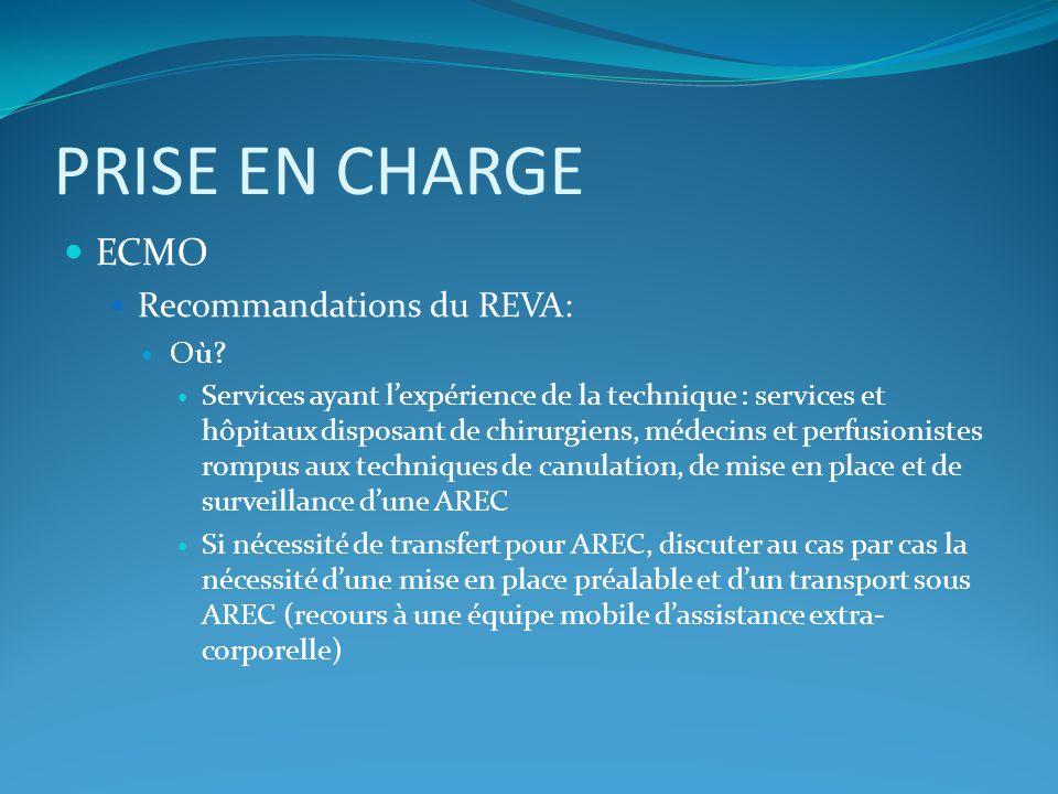 PRISE EN CHARGE ECMO Recommandations du REVA: Où