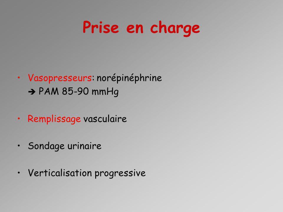 Prise en charge Vasopresseurs: norépinéphrine  PAM 85-90 mmHg