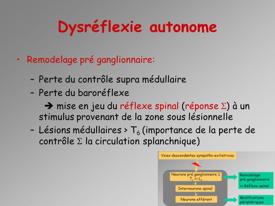 Dysréflexie autonome Remodelage pré ganglionnaire: