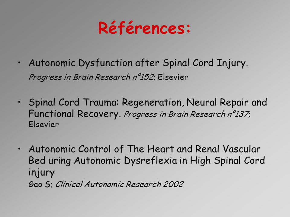 Références: Autonomic Dysfunction after Spinal Cord Injury.