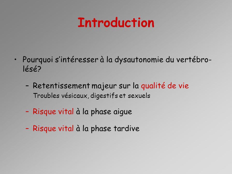 Introduction Pourquoi s'intéresser à la dysautonomie du vertébro-lésé