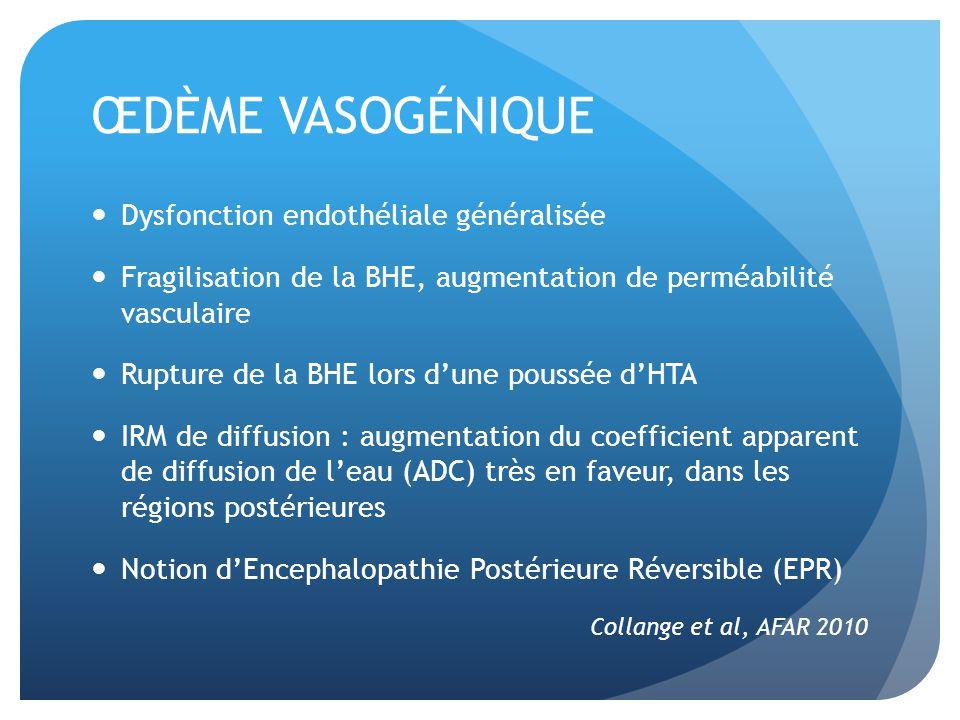 ŒDÈME VASOGÉNIQUE Dysfonction endothéliale généralisée
