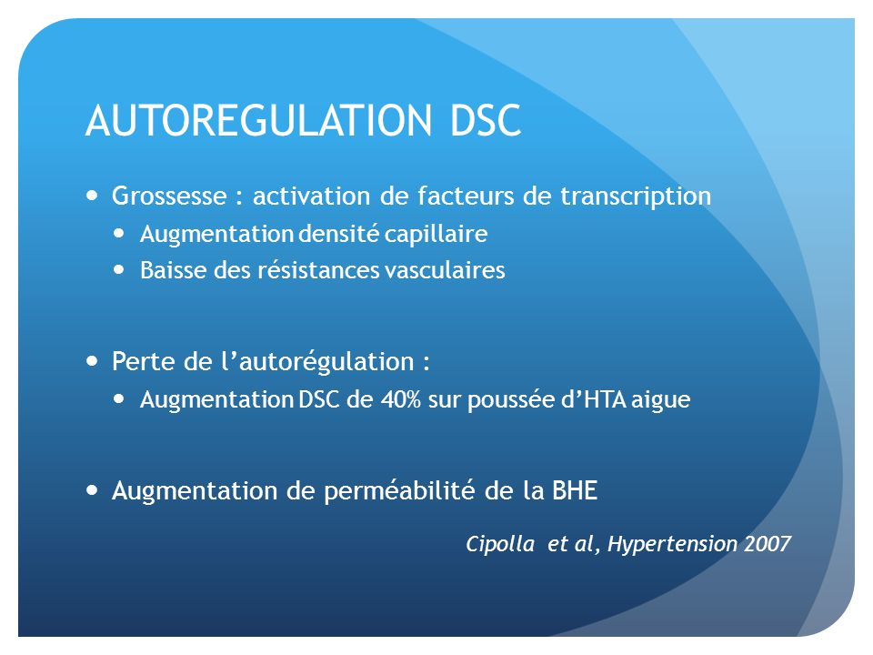 AUTOREGULATION DSC Grossesse : activation de facteurs de transcription