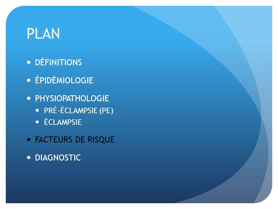 PLAN DÉFINITIONS ÉPIDÉMIOLOGIE PHYSIOPATHOLOGIE FACTEURS DE RISQUE