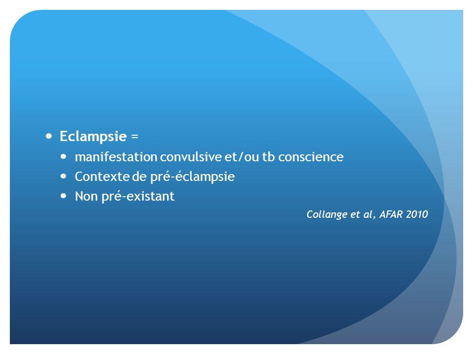 Eclampsie = manifestation convulsive et/ou tb conscience