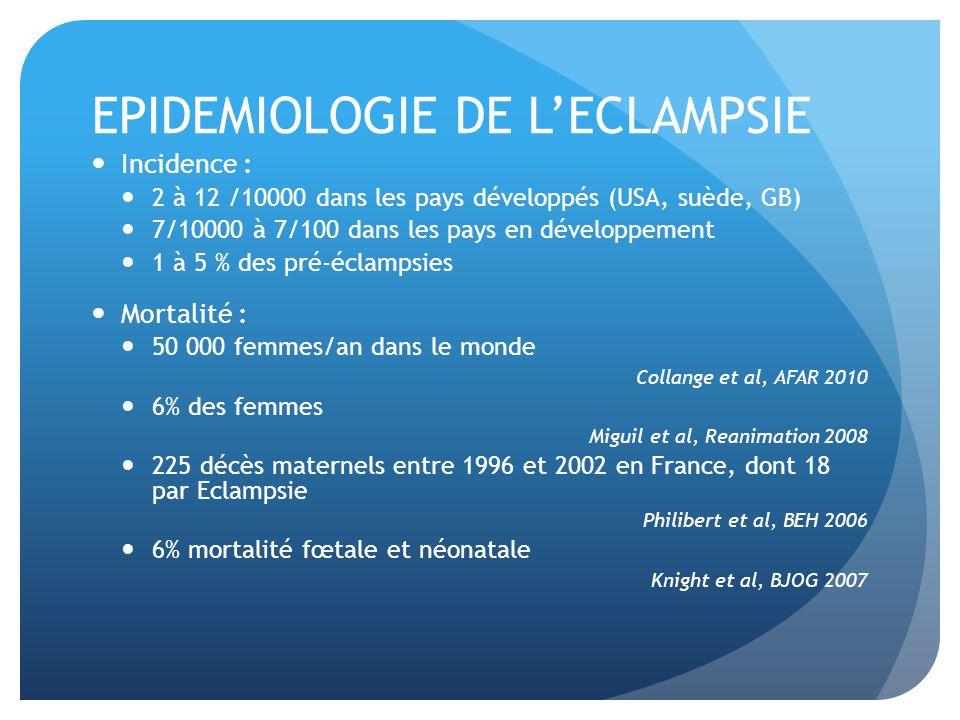 EPIDEMIOLOGIE DE L'ECLAMPSIE