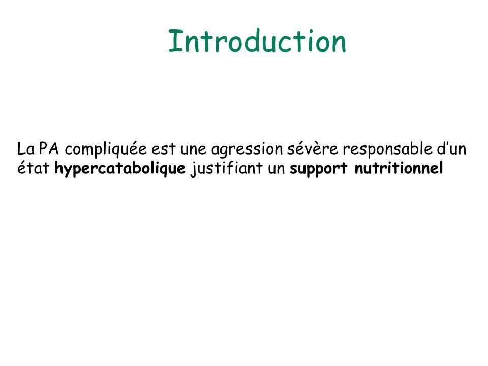 Introduction La PA compliquée est une agression sévère responsable d'un état hypercatabolique justifiant un support nutritionnel.