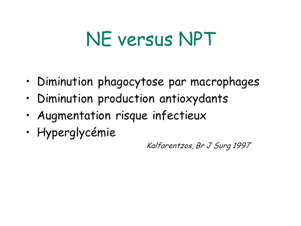 NE versus NPT Diminution phagocytose par macrophages
