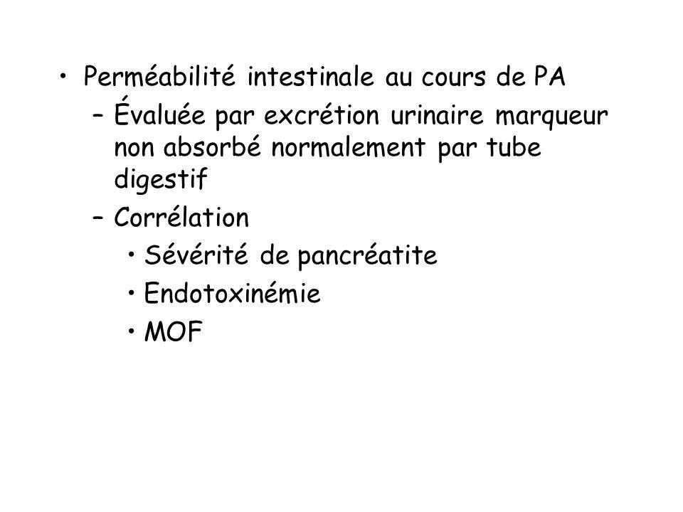Perméabilité intestinale au cours de PA