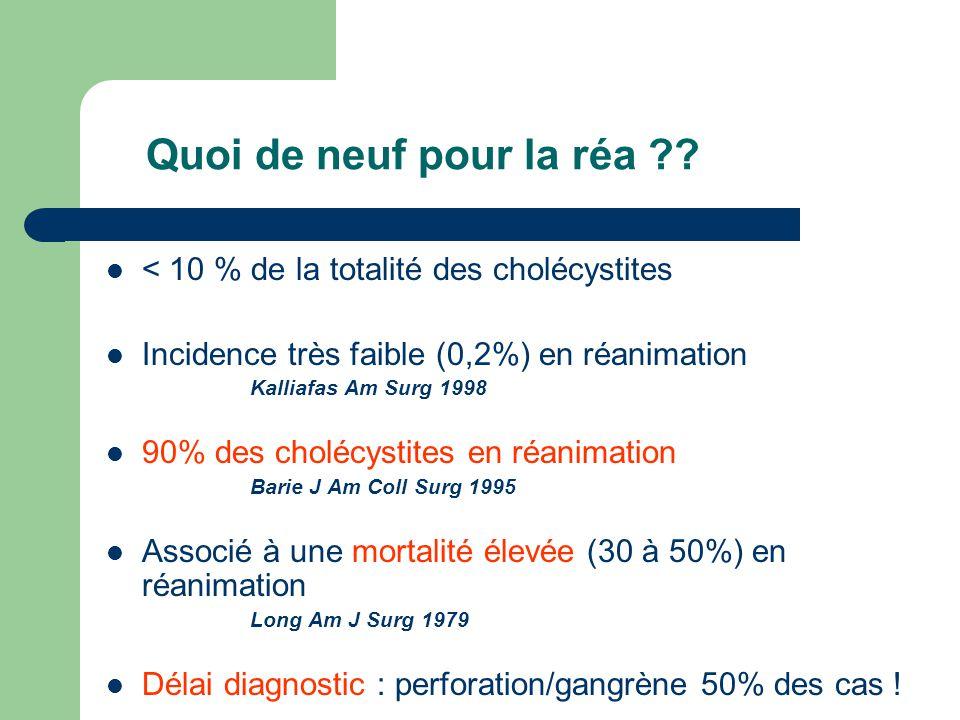 Quoi de neuf pour la réa < 10 % de la totalité des cholécystites