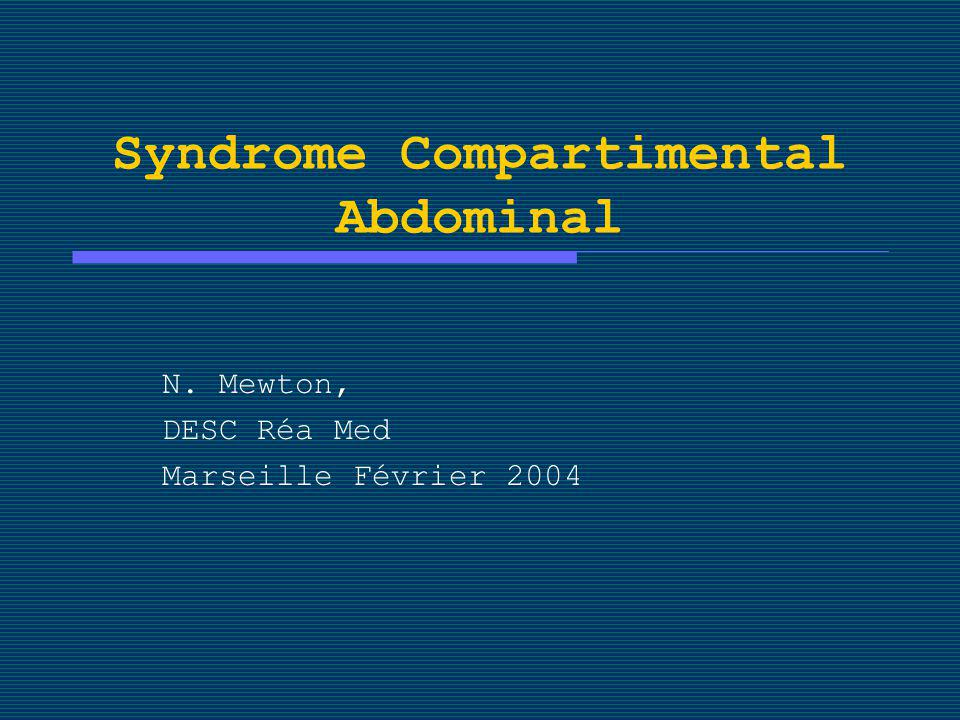 Syndrome Compartimental Abdominal