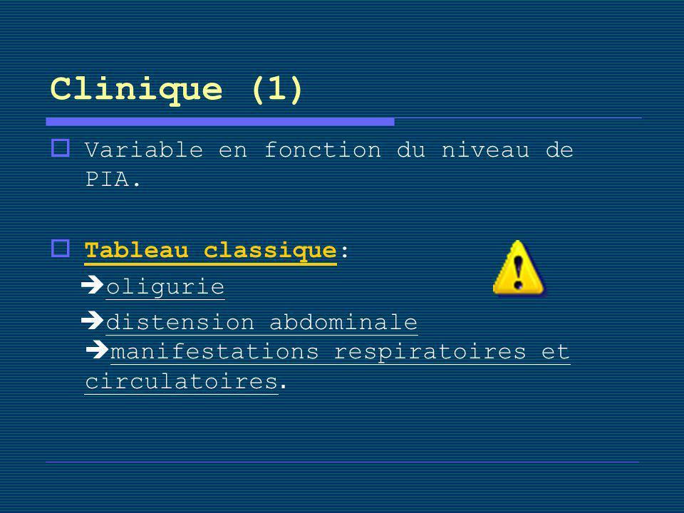 Clinique (1) Variable en fonction du niveau de PIA. Tableau classique: