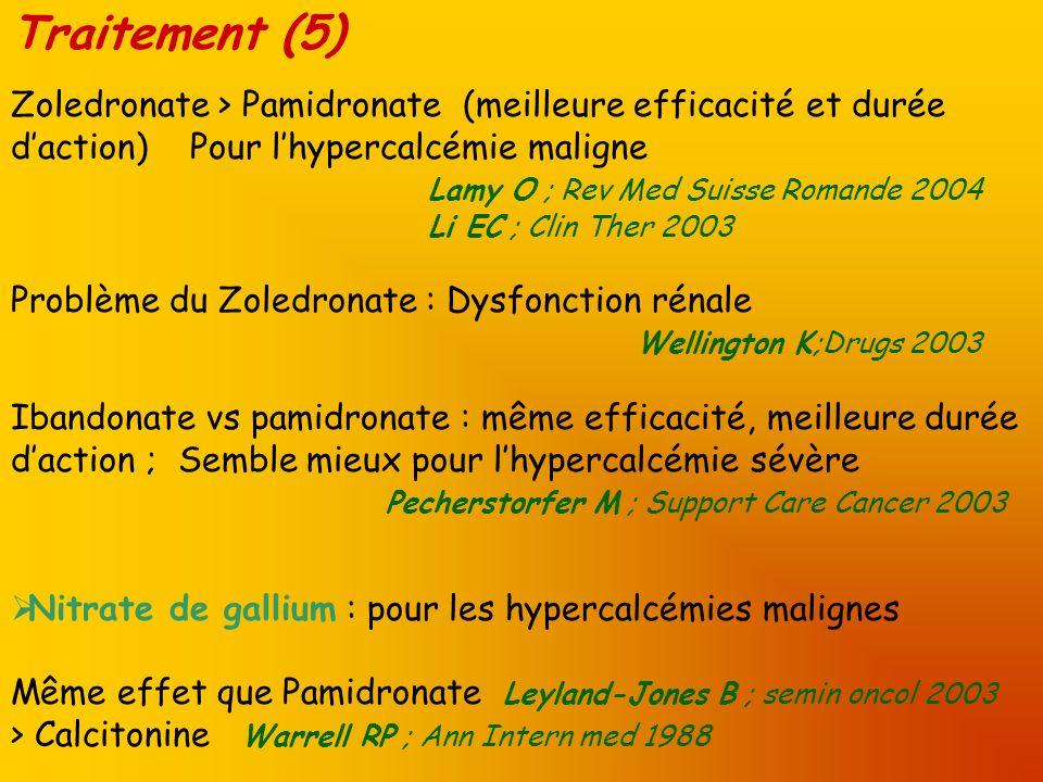 Traitement (5) Zoledronate > Pamidronate (meilleure efficacité et durée d'action) Pour l'hypercalcémie maligne.