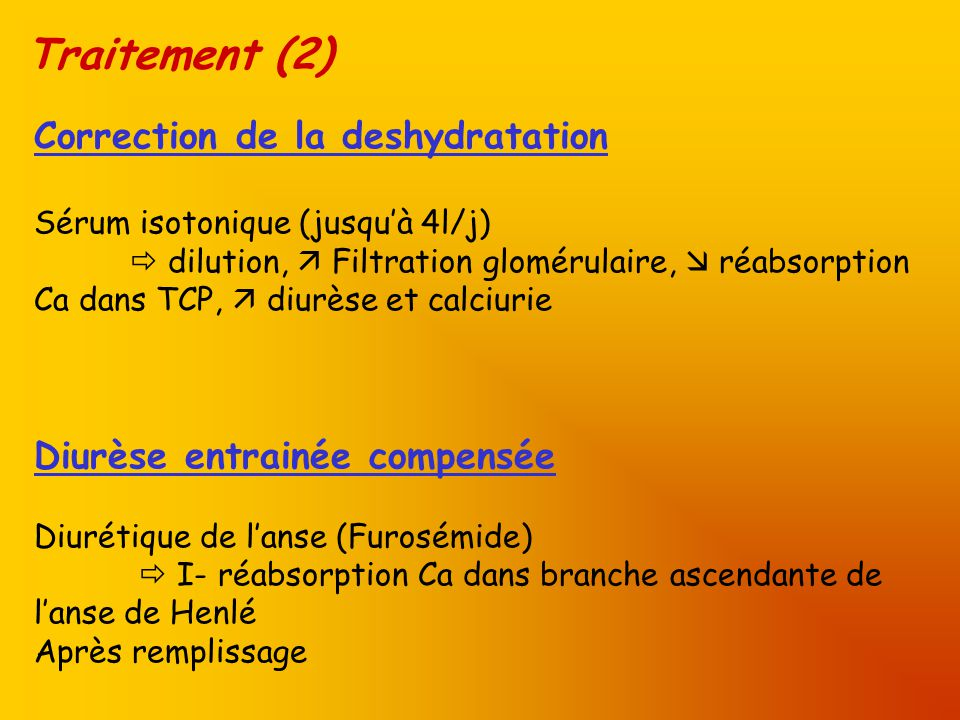 Traitement (2) Correction de la deshydratation