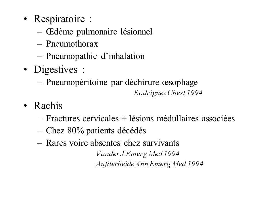 Respiratoire : Digestives : Rachis Œdème pulmonaire lésionnel