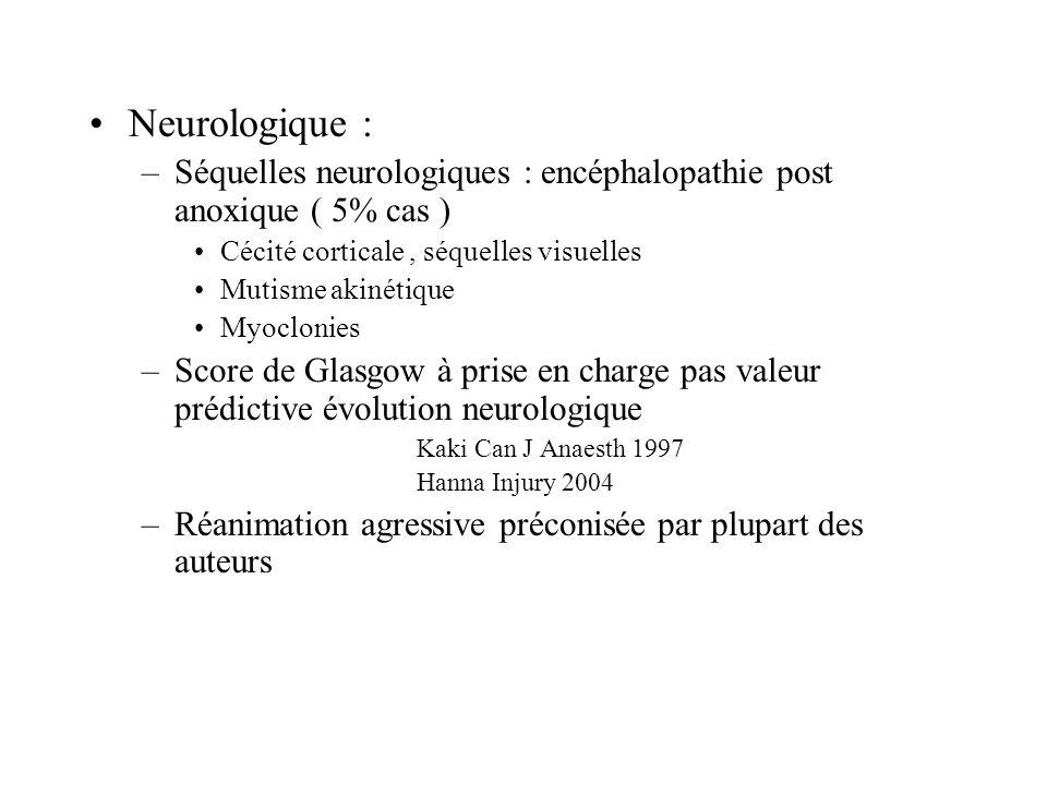 Neurologique : Séquelles neurologiques : encéphalopathie post anoxique ( 5% cas ) Cécité corticale , séquelles visuelles.