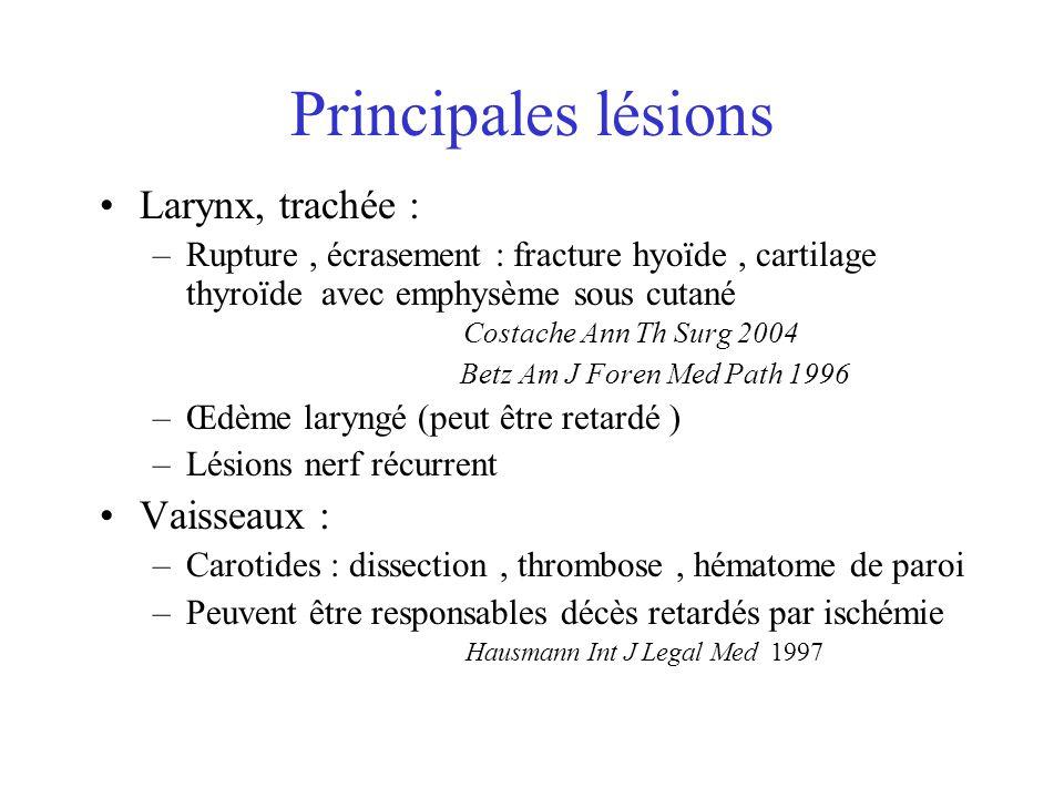 Principales lésions Larynx, trachée : Vaisseaux :