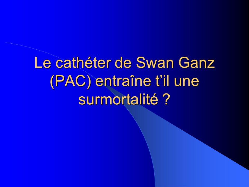 Le cathéter de Swan Ganz (PAC) entraîne t'il une surmortalité