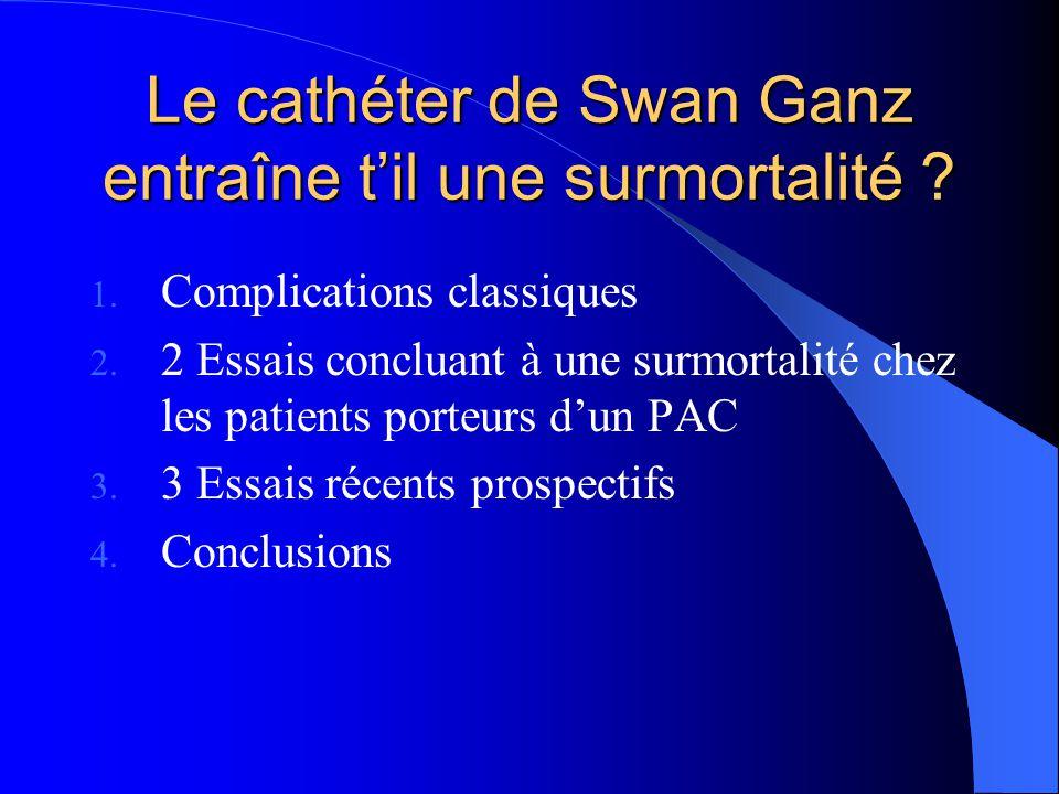 Le cathéter de Swan Ganz entraîne t'il une surmortalité