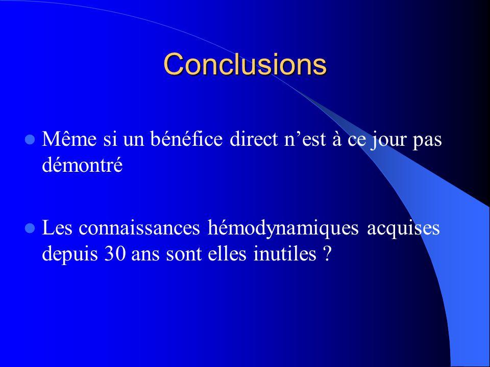 Conclusions Même si un bénéfice direct n'est à ce jour pas démontré
