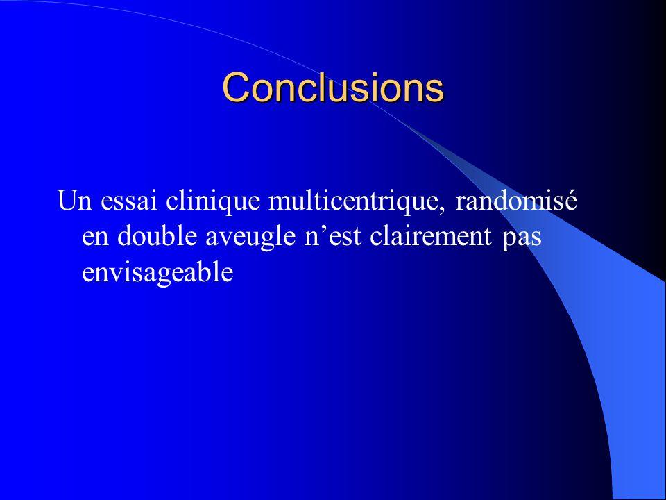 Conclusions Un essai clinique multicentrique, randomisé en double aveugle n'est clairement pas envisageable.