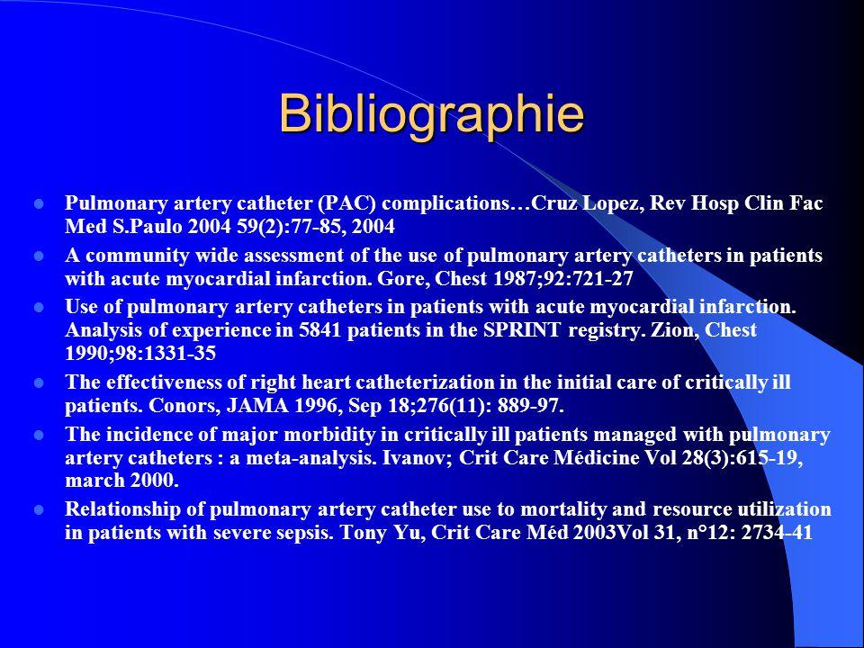 Bibliographie Pulmonary artery catheter (PAC) complications…Cruz Lopez, Rev Hosp Clin Fac Med S.Paulo 2004 59(2):77-85, 2004.