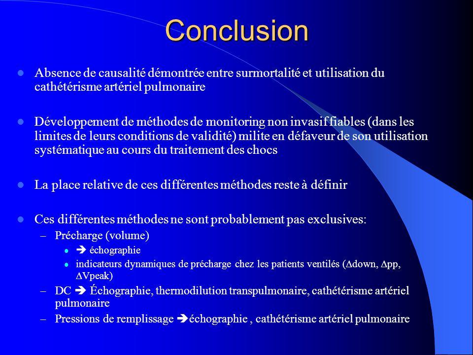 Conclusion Absence de causalité démontrée entre surmortalité et utilisation du cathétérisme artériel pulmonaire.