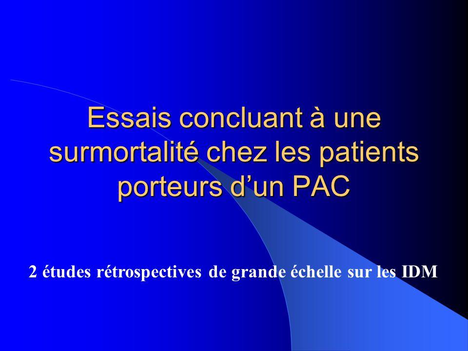 Essais concluant à une surmortalité chez les patients porteurs d'un PAC