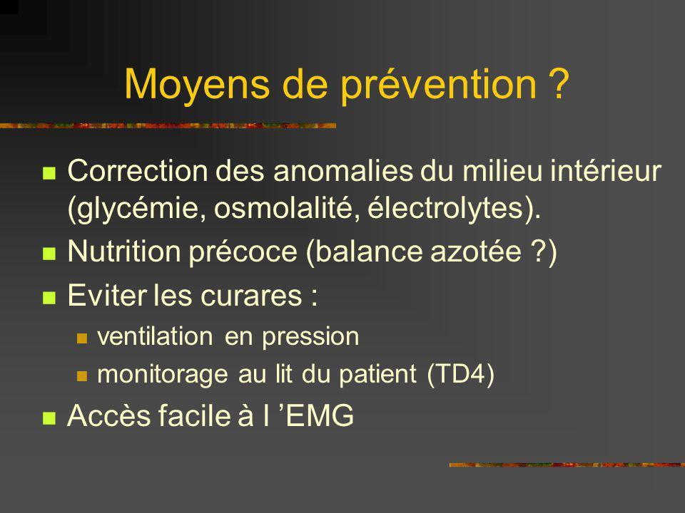 Moyens de prévention Correction des anomalies du milieu intérieur (glycémie, osmolalité, électrolytes).