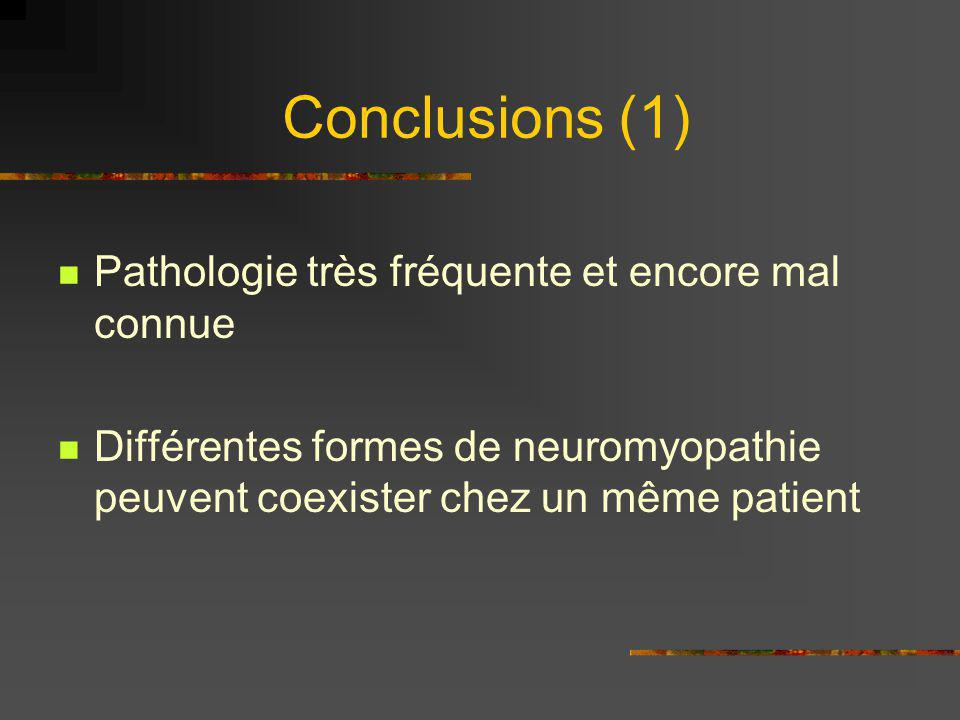 Conclusions (1) Pathologie très fréquente et encore mal connue