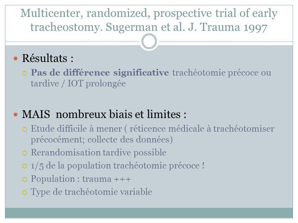 Multicenter, randomized, prospective trial of early tracheostomy