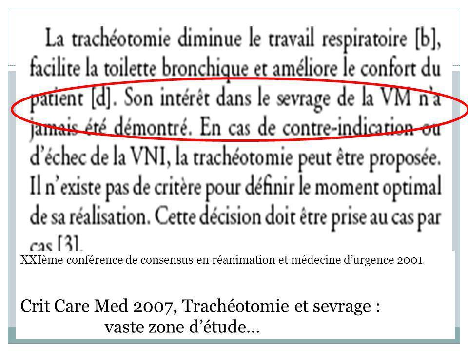 Crit Care Med 2007, Trachéotomie et sevrage : vaste zone d'étude…