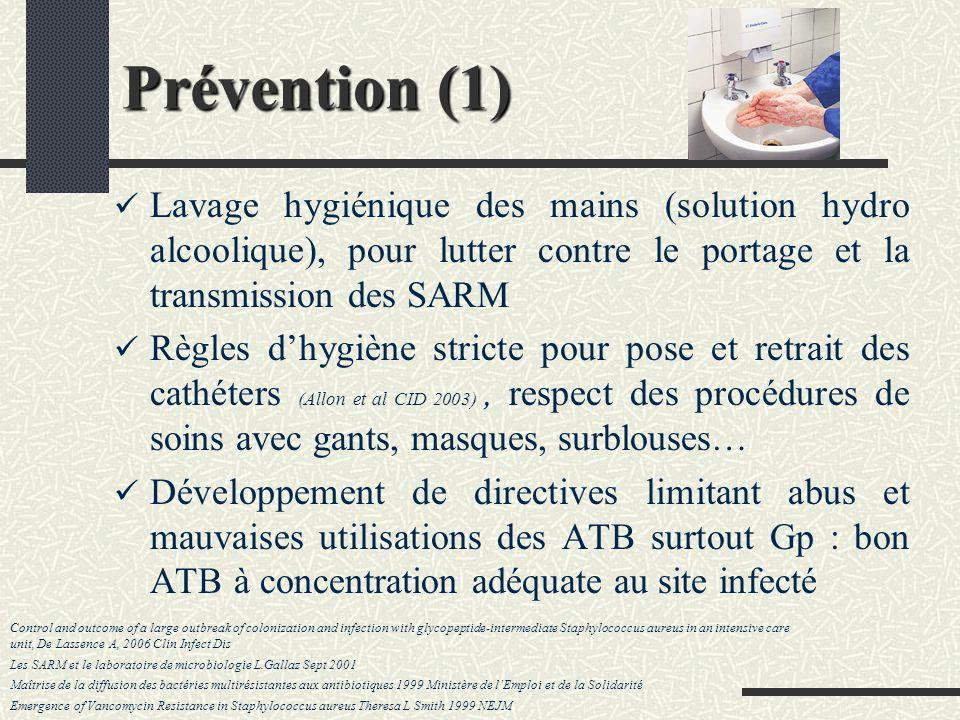 Prévention (1) Lavage hygiénique des mains (solution hydro alcoolique), pour lutter contre le portage et la transmission des SARM.