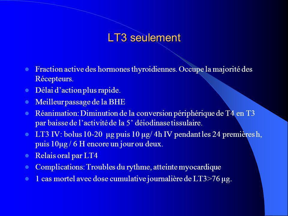 LT3 seulement Fraction active des hormones thyroidiennes. Occupe la majorité des Récepteurs. Délai d'action plus rapide.
