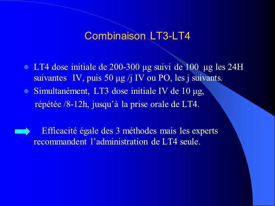 Combinaison LT3-LT4 LT4 dose initiale de 200-300 μg suivi de 100 μg les 24H suivantes IV, puis 50 μg /j IV ou PO, les j suivants.
