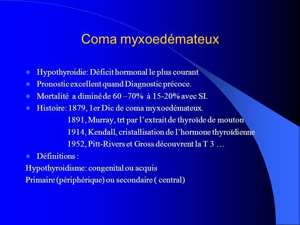 Coma myxoedémateux Hypothyroidie: Déficit hormonal le plus courant