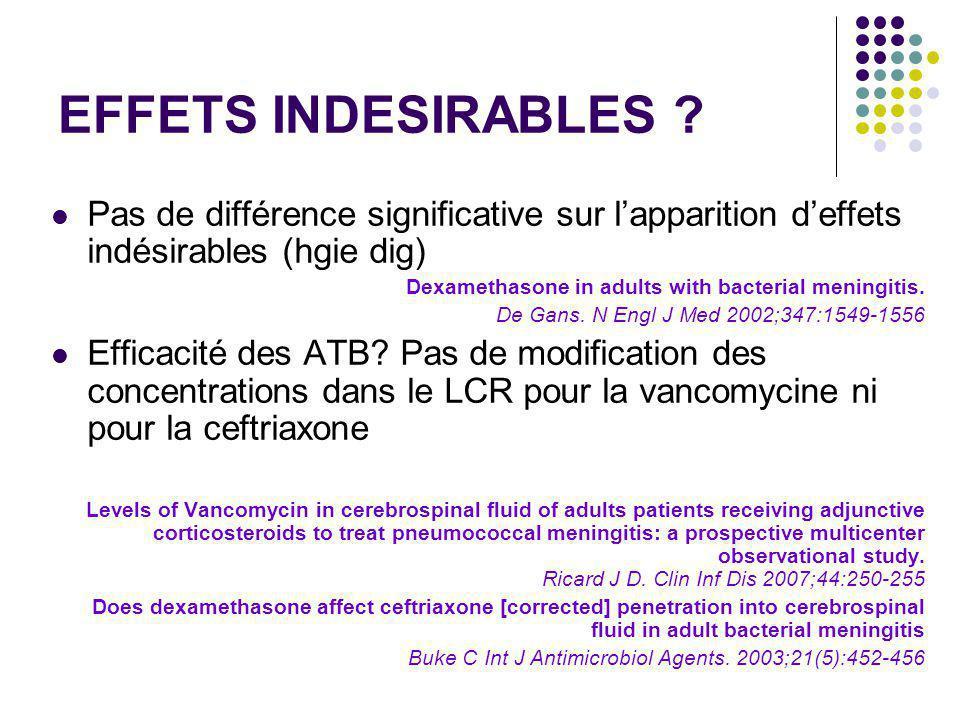 EFFETS INDESIRABLES Pas de différence significative sur l'apparition d'effets indésirables (hgie dig)