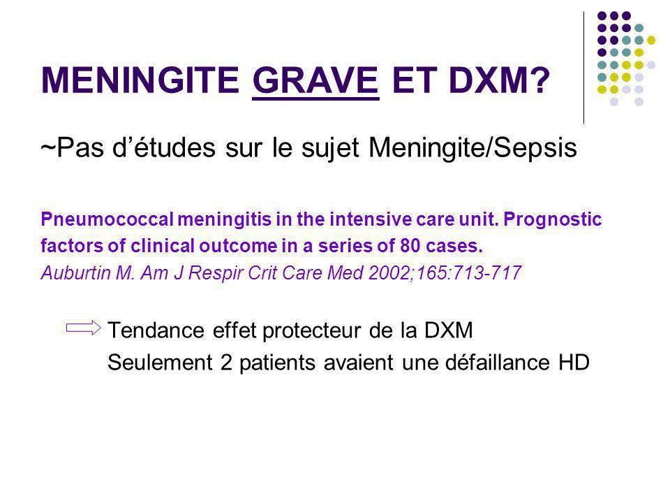 MENINGITE GRAVE ET DXM ~Pas d'études sur le sujet Meningite/Sepsis