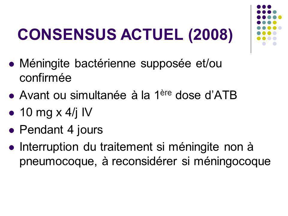 CONSENSUS ACTUEL (2008) Méningite bactérienne supposée et/ou confirmée