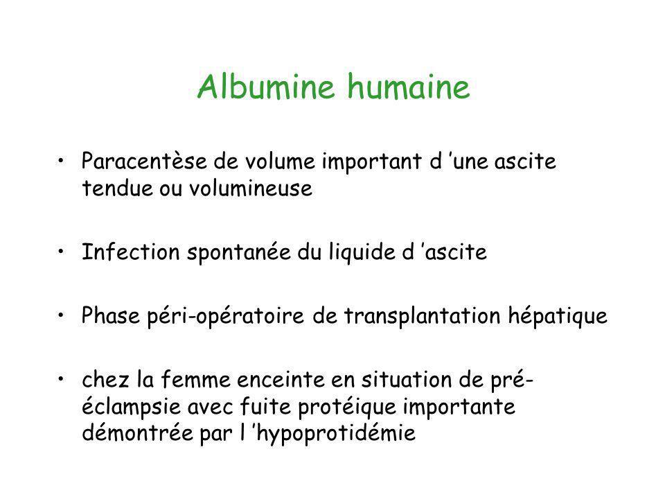 Albumine humaine Paracentèse de volume important d 'une ascite tendue ou volumineuse. Infection spontanée du liquide d 'ascite.