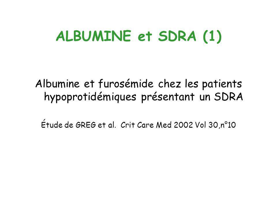 Étude de GREG et al. Crit Care Med 2002 Vol 30,n°10