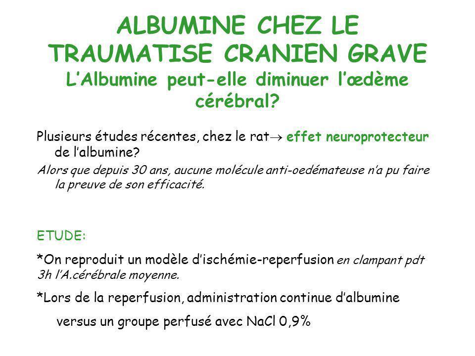 ALBUMINE CHEZ LE TRAUMATISE CRANIEN GRAVE L'Albumine peut-elle diminuer l'œdème cérébral