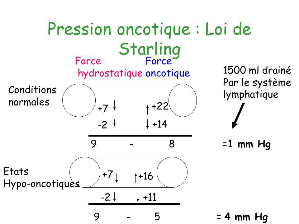 Pression oncotique : Loi de Starling