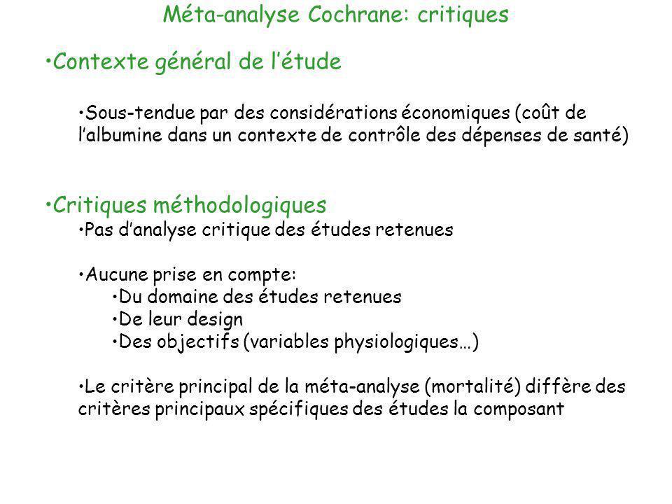Méta-analyse Cochrane: critiques