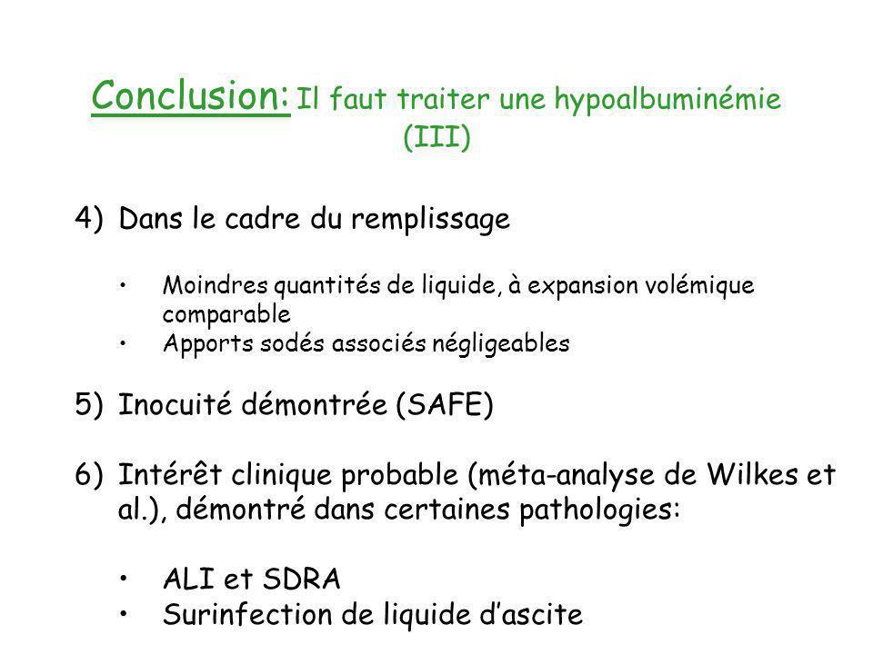 Conclusion: Il faut traiter une hypoalbuminémie (III)