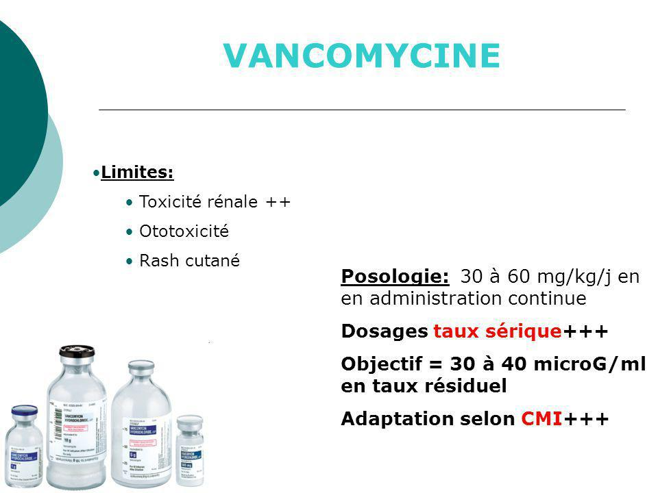 VANCOMYCINE Posologie: 30 à 60 mg/kg/j en en administration continue