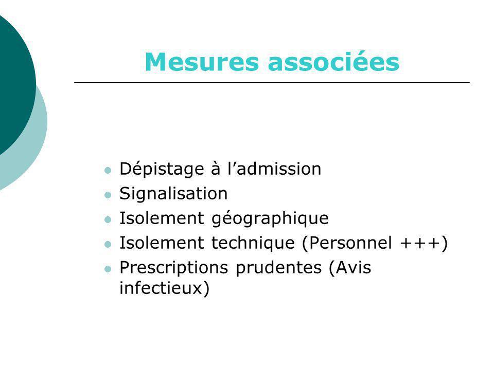 Mesures associées Dépistage à l'admission Signalisation