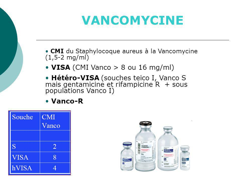 VANCOMYCINE VISA (CMI Vanco > 8 ou 16 mg/ml)