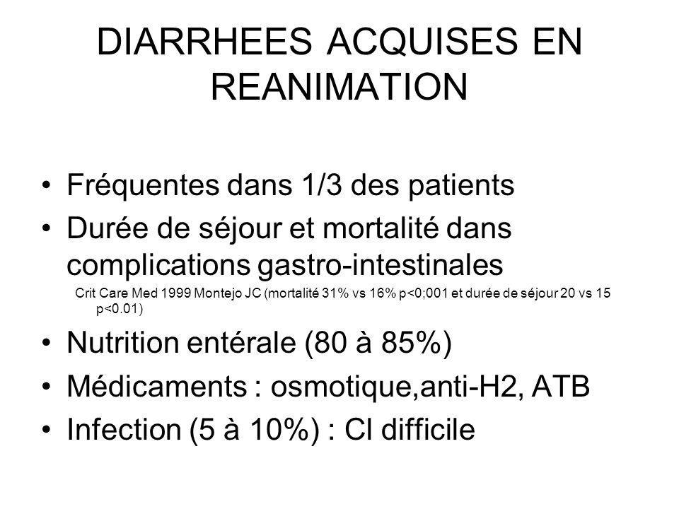 DIARRHEES ACQUISES EN REANIMATION